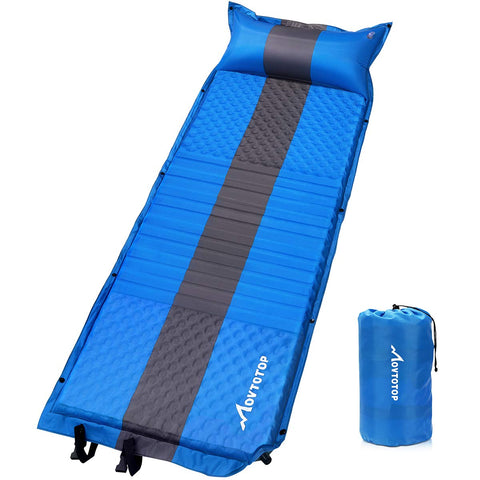 MOVTOTOP Self Inflating Sleeping Pad, Comfortable Foam Camping Mat with Attached Pillow Light Weight Camping Air Mattress for Hiking Backpacking Indoor Party(Optional Pillow) Inflating Pillow