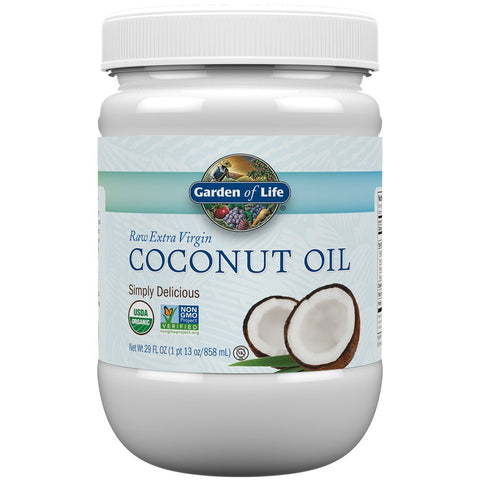 Garden of Life Organic Extra Virgin Coconut Oil - Unrefined Cold Pressed Coconut Oil for Hair, Skin and Cooking, 29 Ounce Plastic Bottle