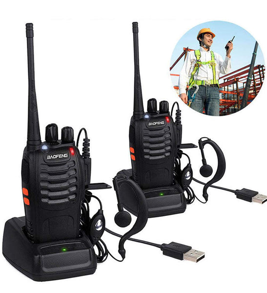 BaoFeng BF-888S Walkie Talkies for Adults Long Range Two Way Radios UHF 400-470Mhz 16 Channels 1500mAh Li-ion USB Rechargeable with Earpiece (2 Pack, Black)