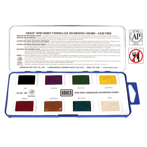 AMACO Non-Toxic Semi-Moist Underglaze Set - A in Pan, 1.5 oz, Assorted Color, 8 Color