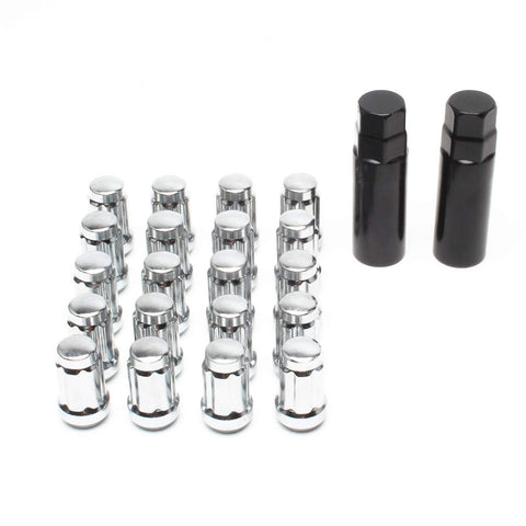 APL Set of 20pcs 12mmX1.5 Chrome Spline Lug Nuts with 2pcs Key Cone Seat Closed End 35mm 1.38'' Long