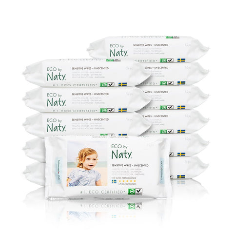 Eco by Naty Thick Baby Wipes for Sensitive Skin, Unscented, Hypoallergenic, Biodegradable and Compostable, 12 Packs of 56 (672 Wipes) 672 Count