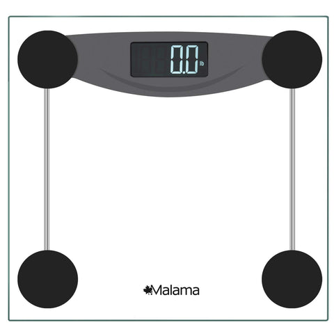 Malama Precision Digital Body Weight Bathroom Scale with Step-On Technology, LCD Backlit Display, 400 lbs Capacity and Accurate Weight Measurements, Black