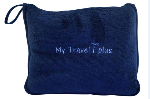 Exclusive Light Weight Airplane Travel Blanket Portable Cozy-Soft 2 in 1 Microfleece Blanket and Pillow in Compact Bag, Best Comfort and Deluxe Feel Guaranteed! (Navy Blue) Navy Blue