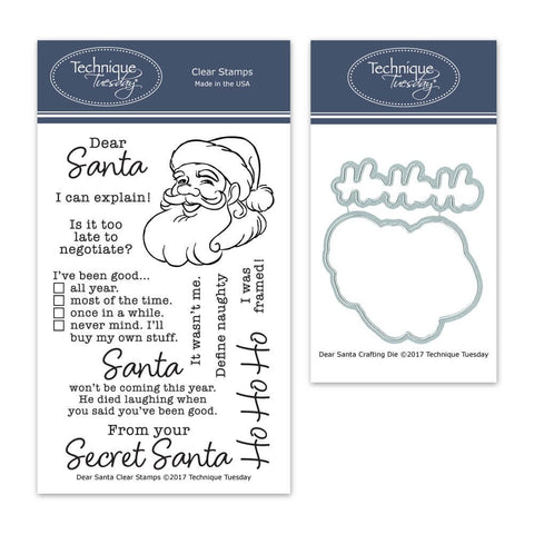 Dear Santa Clear Stamps with Matching Metal Dies | Christmas Stamps | Clear Rubber Stamps | Photopolymer Stamps | Die Cuts | Craft Dies | Card Making Supplies | Scrapbooking Stamps