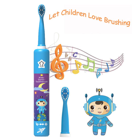 Kids Electric Toothbrush Rechargeable USB Charging Powered Up to 30 Days, Smart Timer 3 Modes Waterproof Travel Sonic Toothbrushes 2 Brush Heads Soft Bristles Deep Clean As Dentist for Child Age 3+ Kids toothbrush-Blue