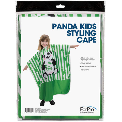 "ForPro Panda Kids Styling Cape, Lightweight, Water-Resistant, Six Button Snap Closure, 50"" L x 37"" W"