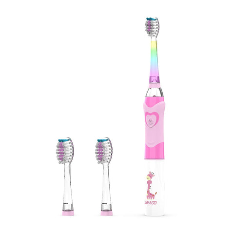 SEAGO Kids Electric Sonic Toothbrush with Timer, Children Battery-Powered Tooth Brush with Colorful LED Light for Boy and Girl, 2 Extra Replaceable Heads (Pink) SG977-Pink