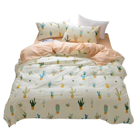 FenDie Potted Plants Bedding Queen Set 3 Piece Cactus Printed Duvet Cover Set Cotton,Pale Yellow for Teens Girls Full/Queen(1 Duvet Cover + 2 Pillow Shams)