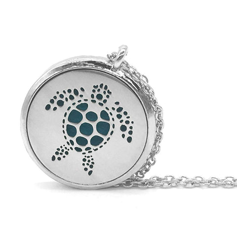 HUNO Stainless Steel Essential Oil Diffuser Necklace Aromatherapy Pendant Floating Charm Locket Animal Dog Cat Jewelry for Women Girls Gifts turtle