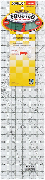 Olfa Frosted Advantage 6  x 24  Quilting Ruler - The Essential  the Essential -6 x24