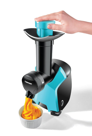 Chefman Frozurt, Frozen Dessert Maker, Healthy, Dairy Free, Vegan Ice Cream, Soft Serve Frozen Yogurt, Fruit Sorbet Sherbet Machine, Simple One Push Operation, Blue Compact