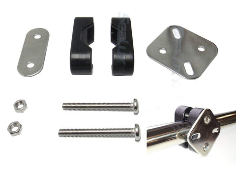 SeaLux Rail Mount clamp Bracket Set with Stainless Steel Mount Plate and Nylon Brackets for 7/8  - 1  tubing