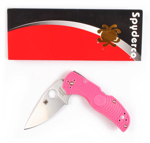 Spyderco Native5 Plain Edge Pink Folding Knife with 2.95  Blade
