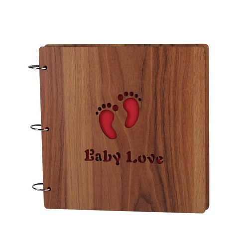 Large DIY Photo Album Wood Cover Baby Photo Book for Toddlers Saving The Photos of Growth, with Funny Description Anniversary Scrapbook 10 X 10 Inches(Baby Love)