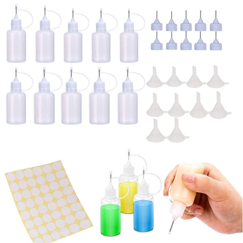 10pcs Precision Tip Applicator Bottle,10 Additional Tips & 10 Pcs Mini Funnel,Empty Glue Bottle for Gluing Project,DIY Quilling Craft and Acrylic Painting,Oiler Bottle, and Alcohol Ink to Use on Yupo