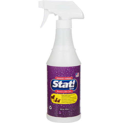 Stat! Spray Pet Wound & Skin Care with Enhanced Hydrogel; First-Aid Treatment for Dogs, Cats & Horses, Speeds Healing of Cuts, Bites, Scratches & Rashes; Soothing Relief Hot Spots, Itching & Chewing 16 fl. oz.