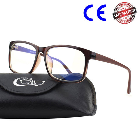 CGID CT12 Blue Light Blocking Glasses for Women and Men, Anti Eye Fatigue Eyestrain, Reduce Digital Headaches, Glasses for Computer Phone Tablet, Third Generation Blue Light UV Filter Lens, Brown Brown B