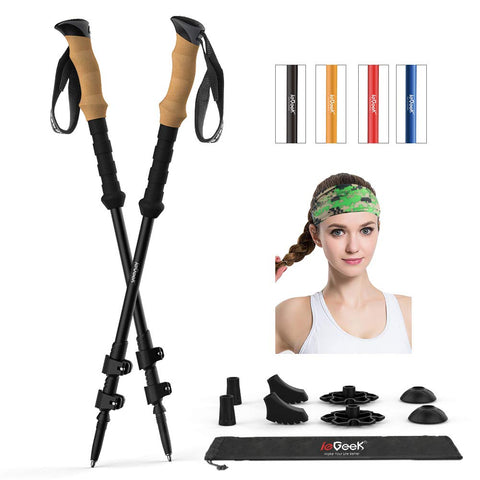 ieGeek Trekking Poles with Headband - 2 pc Pack Adjustable Hiking or Walking Sticks - Tough, Lightweight, Collapsible Hiking Poles for All Terrains and Season Black