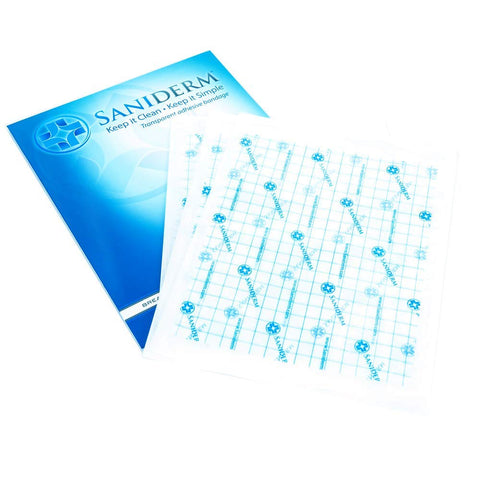 Saniderm Tattoo Bandage | Personal Pack | 3 Pre-Cut Sheets, Clear Adhesive Antibacterial Film 6 x 8 Inches