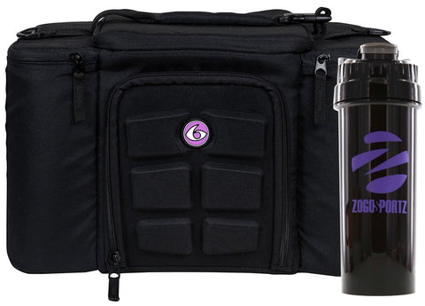 6 Pack Fitness Insulated Meal Prep Bag, Innovator 300 Black/Neon Purple (3 Meal) w/Bonus ZogoSportz Cyclone Shaker 3 Meal w/ Cyclone Cup