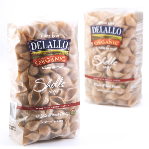 DeLallo Organic Whole Wheat Shells #91, 16-Ounce Units (Pack of 16)