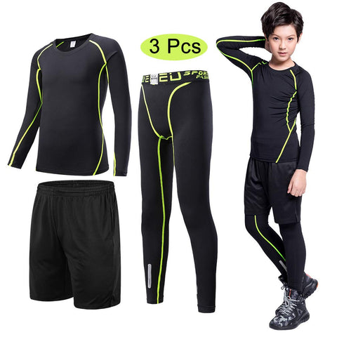 "Tesuwel 2/3/4/5 Pcs Boys Girls Athletic Compression Pants and Shirts Base Layer Thermal Underwear Set Running Tights Leggings 3 Pcs Green Suit 12 fit Height 56""-59"""