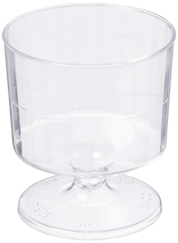Classicware Rigid Plastic 1-Piece Pedestal Wine Glass, 2 Ounce Capacity, Clear (240-Count)