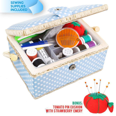 Large Sewing Basket with Accessories Sewing Kit Storage and Organizer with Complete Sewing Tools - Wooden Sewing Box with Removable Tray and Tomato Pincushion for Sewing Mending - Blue Blue Dot Large