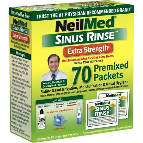 Neilmed Sinus Rinse Extra Strength Hypertonic 70 Packets (Pack of 2)