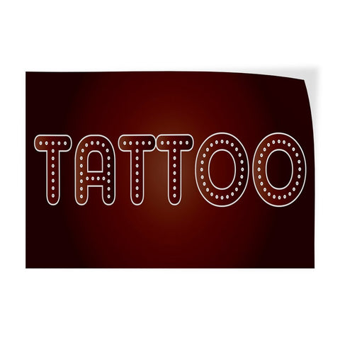 Decal Sticker Multiple Sizes Tattoo #2 Business Tattoo Outdoor Store Sign Brown - 54inx36in, Set of 10