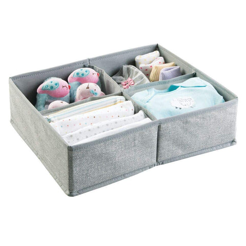 mDesign Soft Fabric Dresser Drawer and Closet Storage Organizer, 4 Section Divided Bin for Child/Kids Room, Nursery, Playroom, Bedroom - Textured Print with Solid Trim - Gray