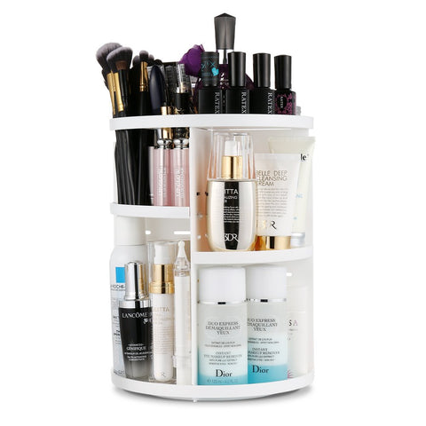 Jerrybox Makeup Organizer, 360° Rotating Cosmetics Organizer Adjustable Makeup Carousel for Countertop, Large Capacity, 7 Layers, Round, White Circle White