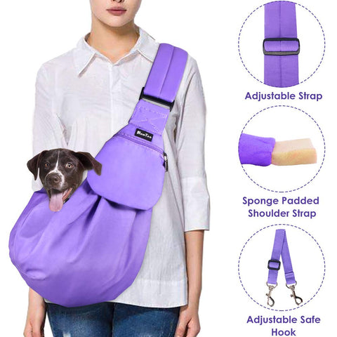 SlowTon Pet Sling, Hand Free Dog Carrier Adjustable Padded Strap Tote Bag Breathable Cotton Shoulder Bag Front Pocket Safety Belt Carrying Small Dog Cat Puppy Machine Washable Purple