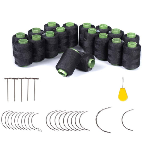 59 Pieces Hair Weave Needle and Thread Kit, 18 Rolls Black Weaving Thread, 20 Wig T Pins, 20 C Curved Needles and 1 Needle Threader for Wig Sewing, Blocking Knitting, Modelling and Crafts