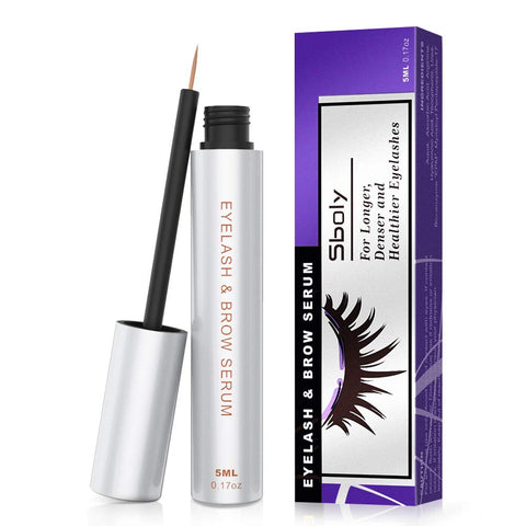 Eyelash Growth Serum, 100% Natural Lash Brow Enhancer, Lash Enhancing Serum for Boost Longer, Thicker Lashes and Eyebrows, Non-irritating by Sboly (5ml, 0.17oz)