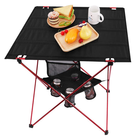 MOVTOTOP Folding Camp Table, 2 Tier Oversize Portable Camping Table with 4 Cup Holders and Carrying Bags for Indoor and Outdoor Picnic, Tailgating, BBQ, Beach, Hiking, Travel, Fishing Fishing