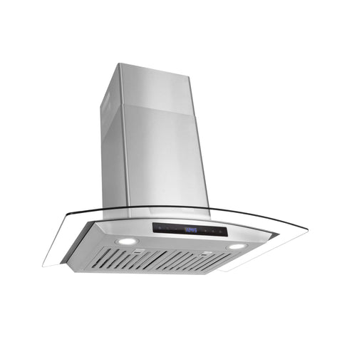 Cosmo 668AS750 30-in Wall-Mount Range Hood 380-CFM | Ducted / Ductless Convertible Duct , Glass Chimney Over Stove Vent with Light , 3 Speed Exhaust , Fan Timer , Permanent Filter ( Stainless Steel ) Tempered Glass Visor / Digital Touch