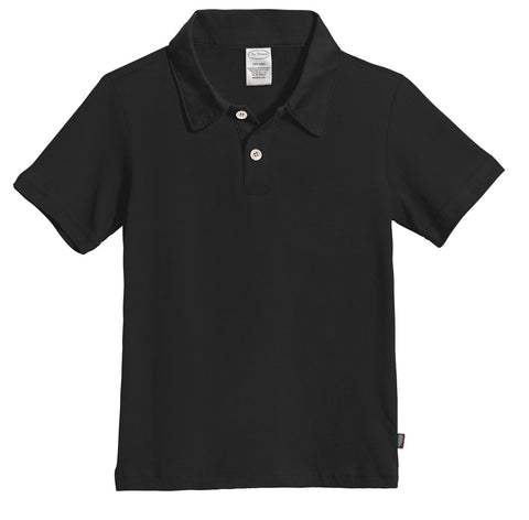 City Threads Boys 100    Cotton Polo Uniform Shirt Modern Fit, Made in USA 5 Black