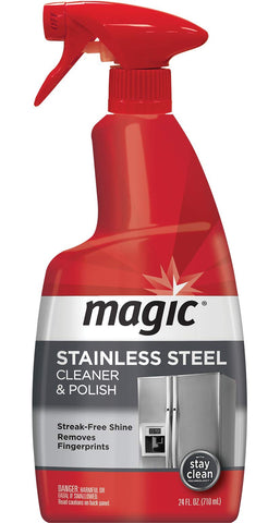 Magic Stainless Steel Cleaner - 24 oz - Removes Fingerprints Residue Water Marks & Grease from Appliances - Works Great on Refrigerators Dishwashers Ovens Grills Single - 24 fl oz