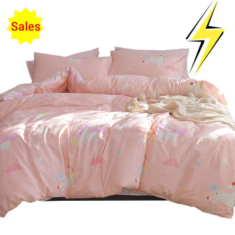 OTOB Unicorn Queen/Full Duvet Cover Set Cotton Bed, Kids Teen Bedding Sets Full Size 3 Piece for Girls Toddler Women, Reversible Striped (1 Comforter Cover 2 Pillowcases) Cartoon Cloud Print, Pink Full/Queen (1 Duvet Cover + 2 Pillowcases) A1.1
