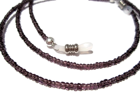 ATLanyards Pretty Plum Purple Seed Bead Eyeglass Holder Purple Beaded Eyeglass Chain