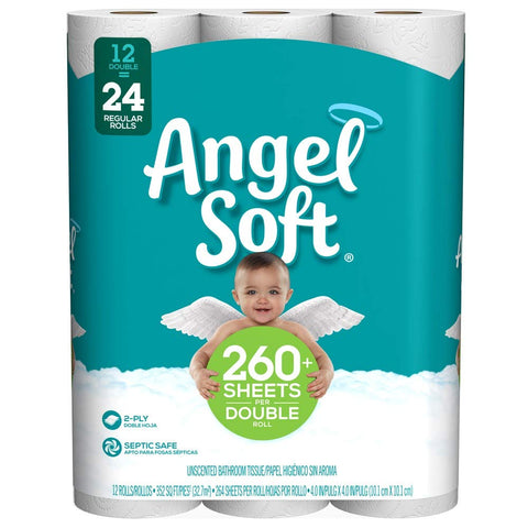 Angel Soft Toilet Paper, 12 Count White 12 Rolls