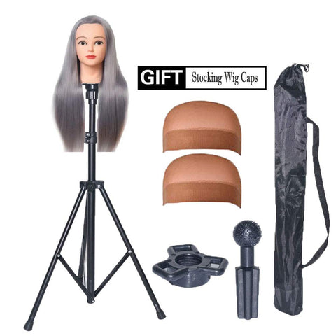 HOOMBOOM Mannequin Head Stand, Wig Stand Tripod - Mannequin Block Head Holder Metal Adjustable Tripod Stand Holder for Hair Salon Cosmetology Hairdressing Training Head with Carry Bag Mannequin head tripod stand