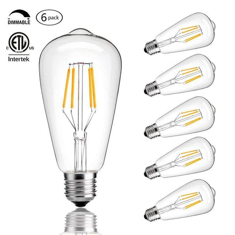 CMYK Vintage Edison LED Bulb, Dimmable 4W ST64 Antique Bulb, 40W Incandescent Equivalent, 330 Lumens, E26 Base, 2700K, Soft Warm White Filament Light For Decorate Home, Restaurant, Office, Pack of 6 Soft Warmwhite(2700K)