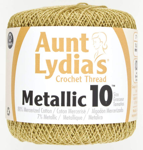 Coats Crochet 154M-0090G Metallic Crochet Thread, 10, Gold