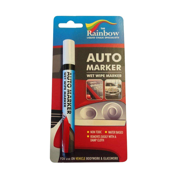 Car Paint Marker Pens Auto Writer - All Surfaces, Windows, Glass, Tire, Metal - Any Automobile, Truck or Bicycle, Water Based Wet Erase Removable Markers Pen - 5mm tip - White Narrow