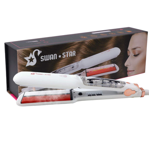 SWAN STAR Infrared Steam Hair Straightener for all Hair Type, 2 in1 Professional Hair Salon Flat Iron 2 Inches Wide Ceramic Heat Plate with Anion (White)