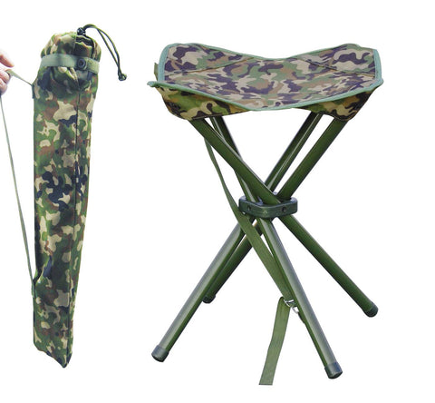 JSHANMEI Outdoor Folding Stool Slacker Chair, Lightweight Foot Rest Seat, for Camping Fishing Hiking Mountaineering Travel Outdoor Recreation with Carrying Bag Camouflage Square Stool (Four Legs)