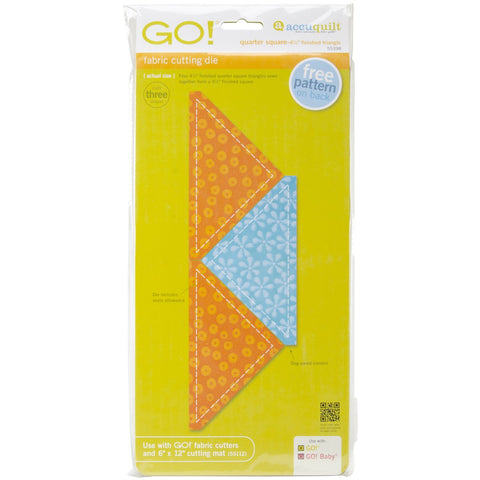 AccuQuilt 55398 GO! Fabric Cutting Dies-Quarter Square -4-1/2 Finished Triangle 55398 4 - 1/2